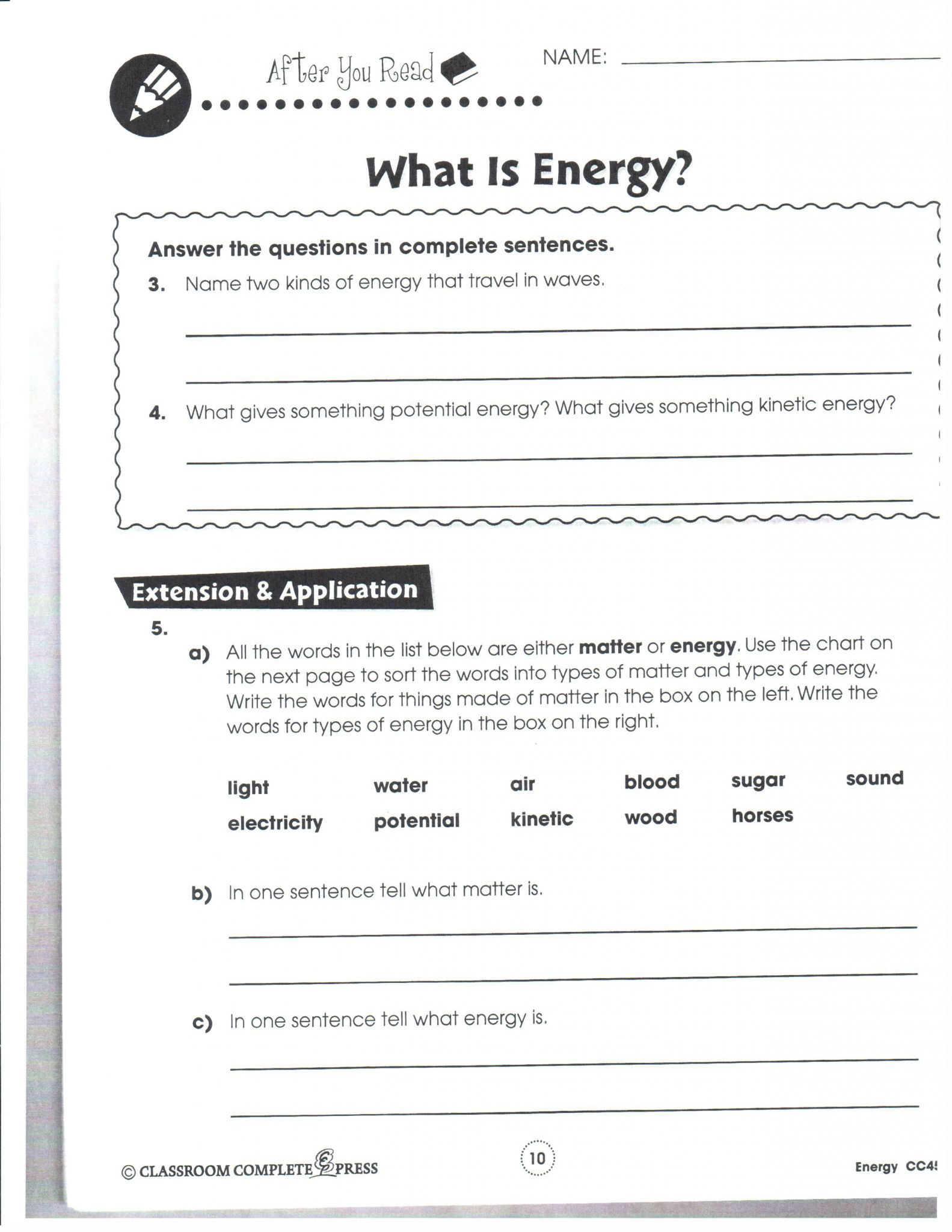 Energy Flow Worksheet Answers