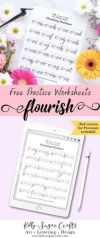 Learn flourishing with these free flourish lettering worksheets calligraphy brush lettering Procreate iPad by Kelly Sugar Crafts letteringworksheets