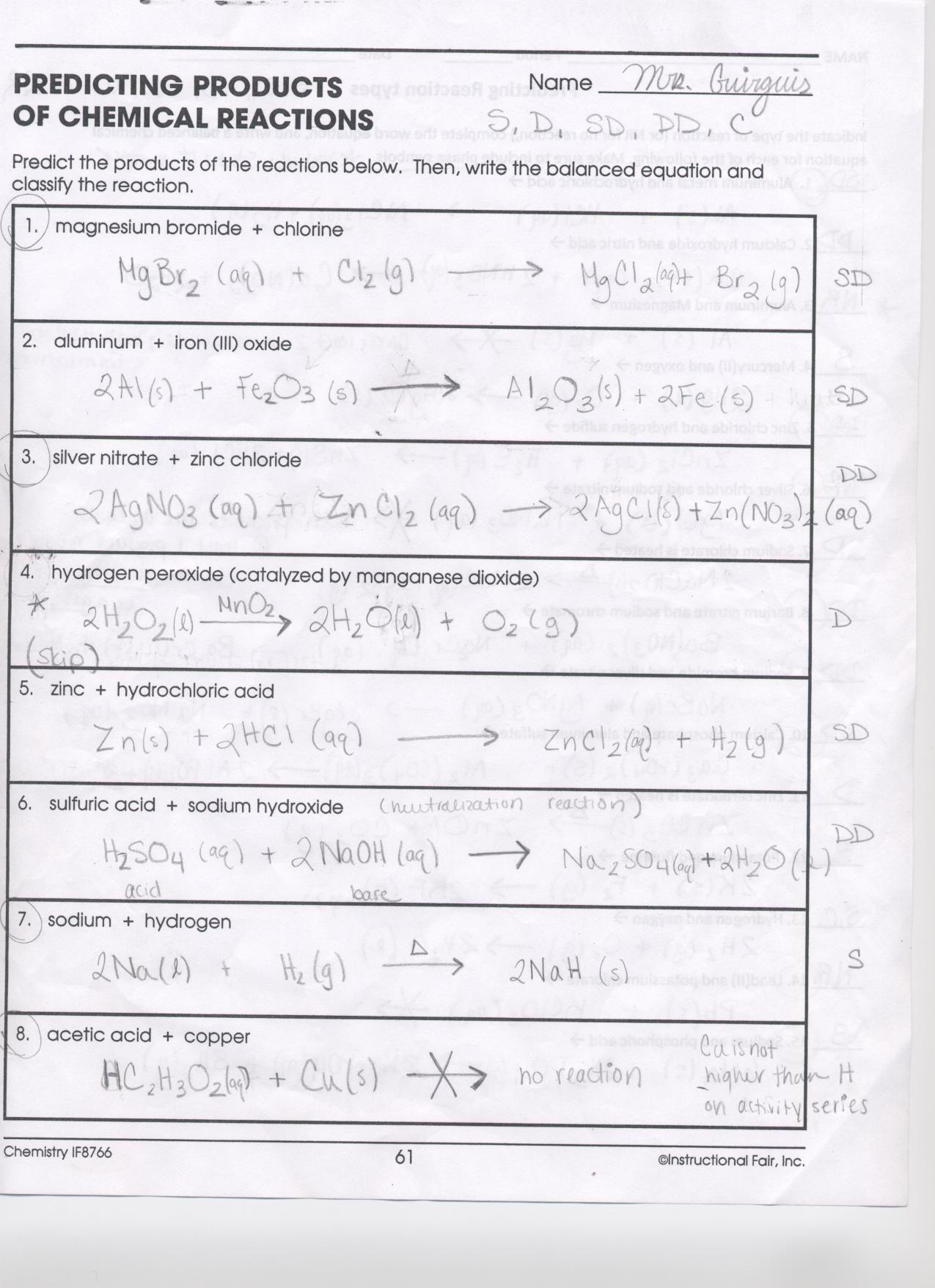 Worksheet Stoichiometry Answers