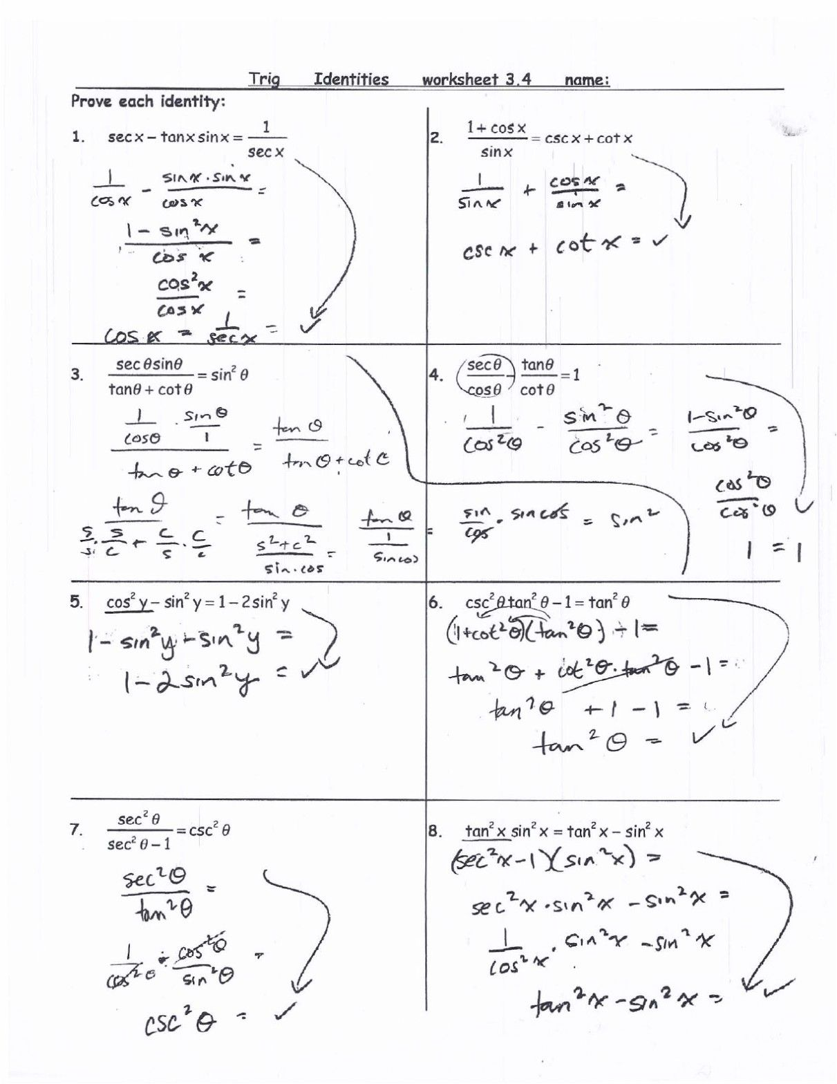 Simplifying Trigonometric Identities Worksheet