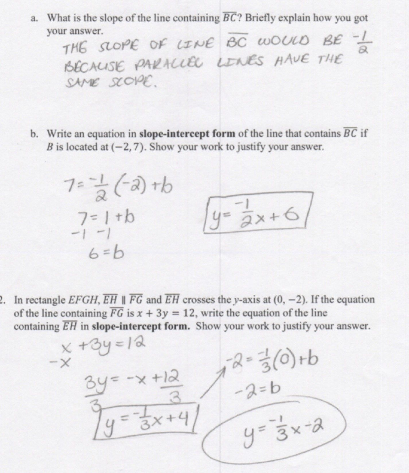 Slope And Y Intercept Worksheets With Answer Key