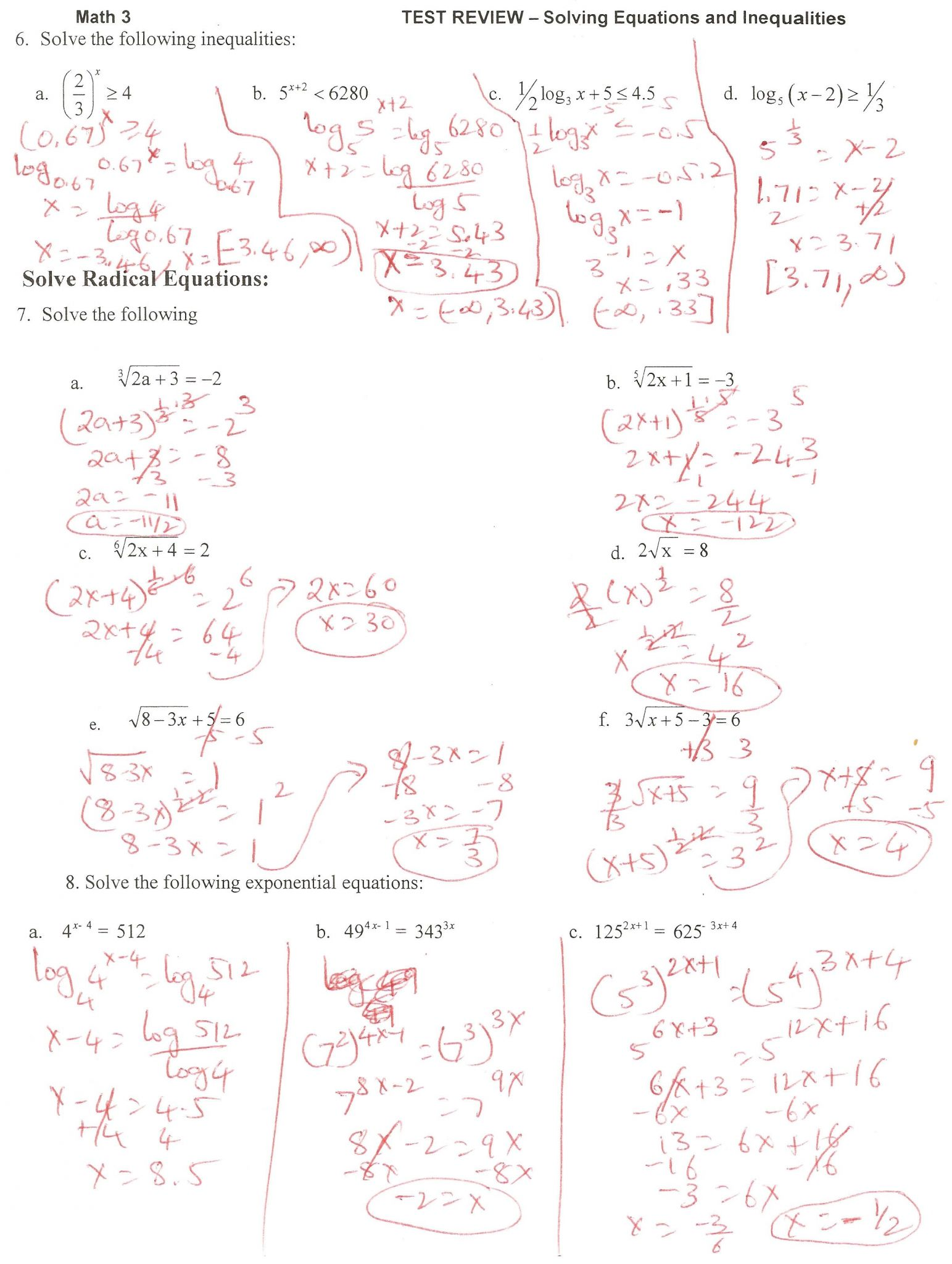 7 Solving Radical Equations And Inequalities Worksheet