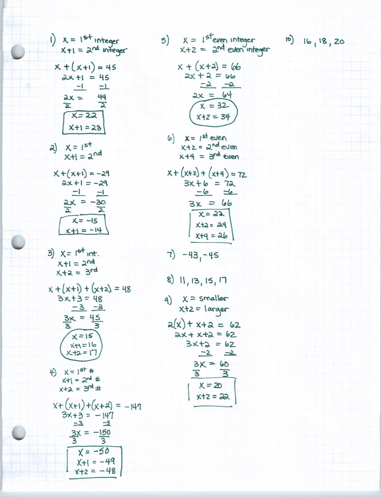 Solving Multi Step Equations Worksheet Answers Algebra 1