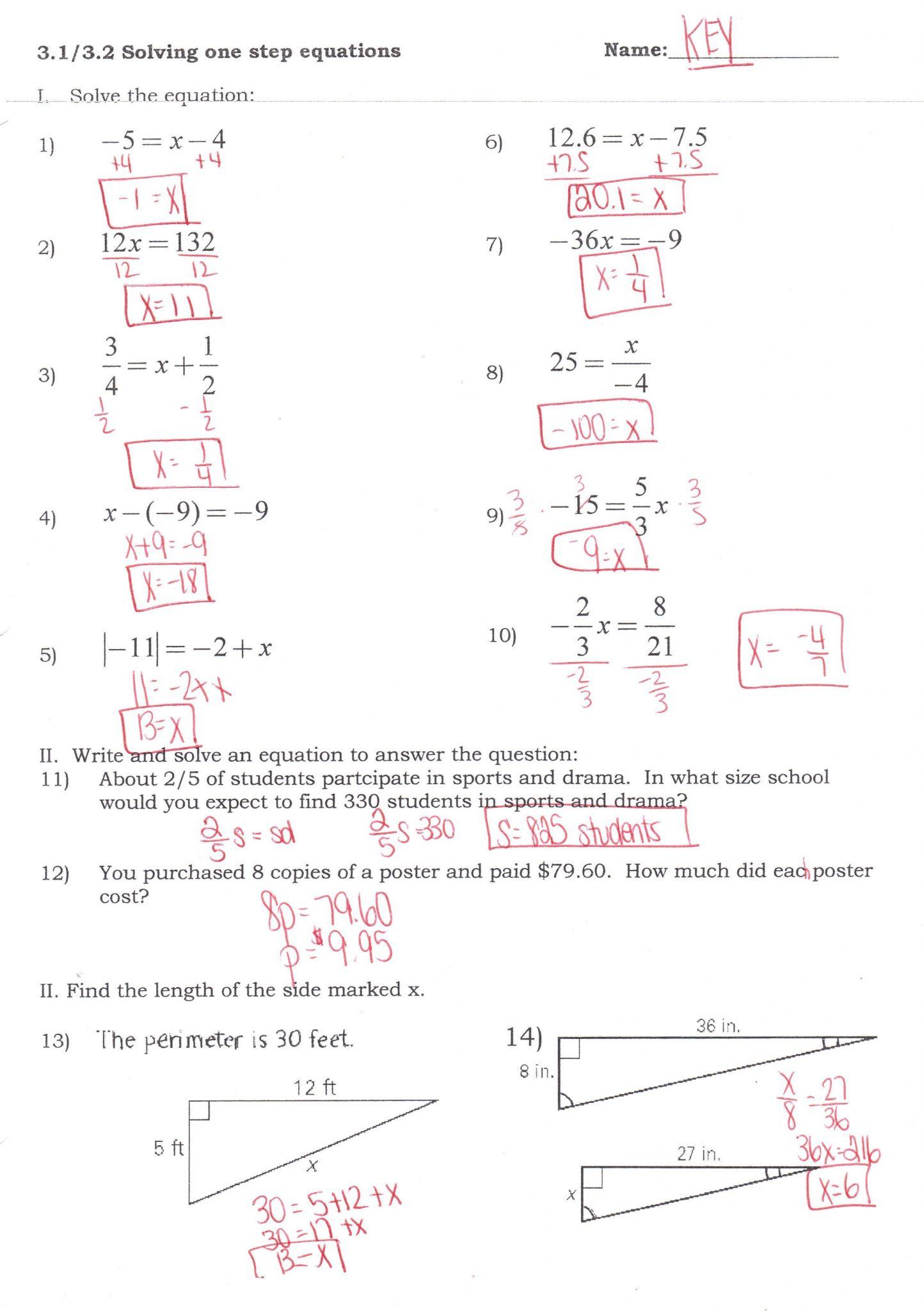 Multi Equations Worksheet