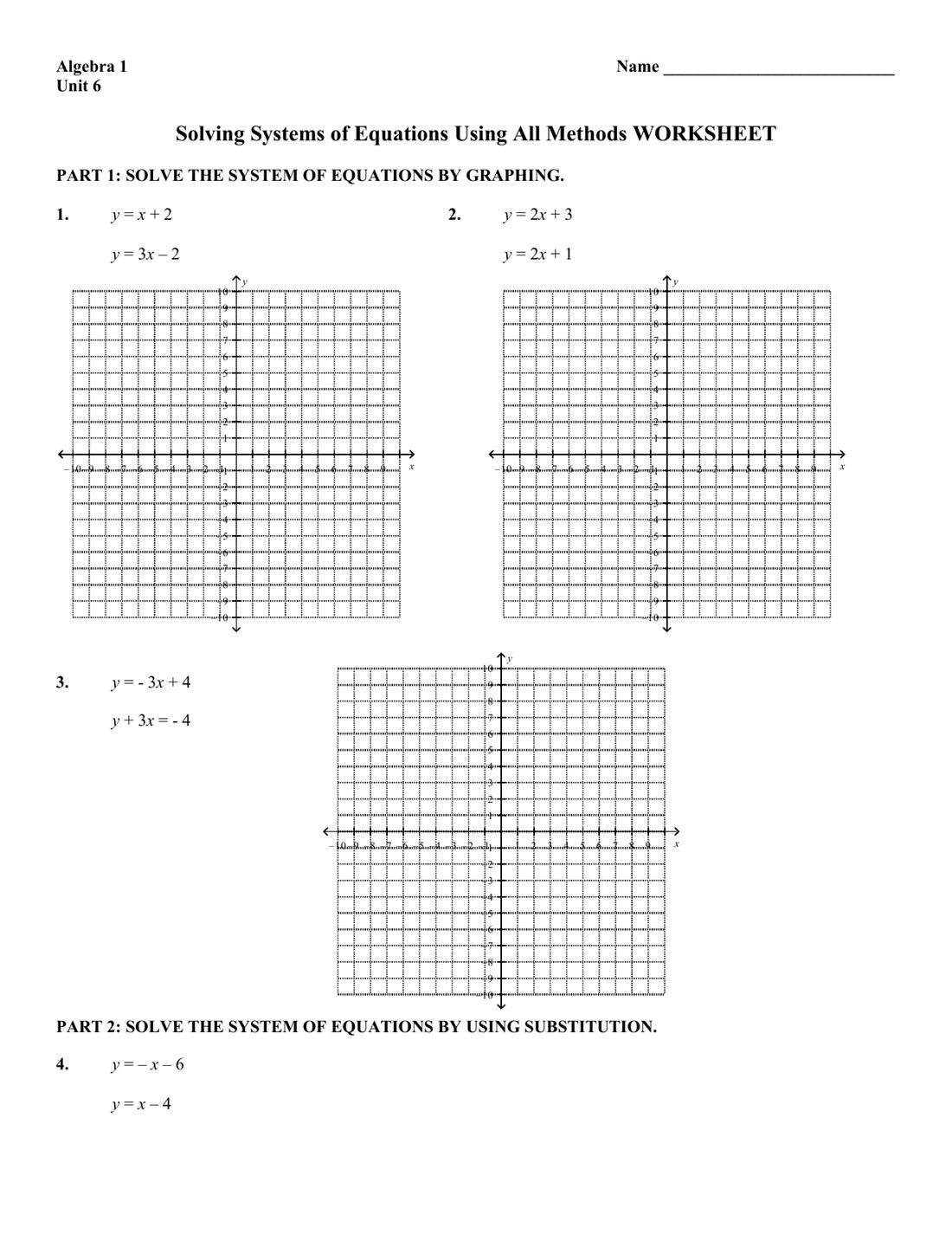 Solving Systems Of Equations By Graphing Worksheet Algebra