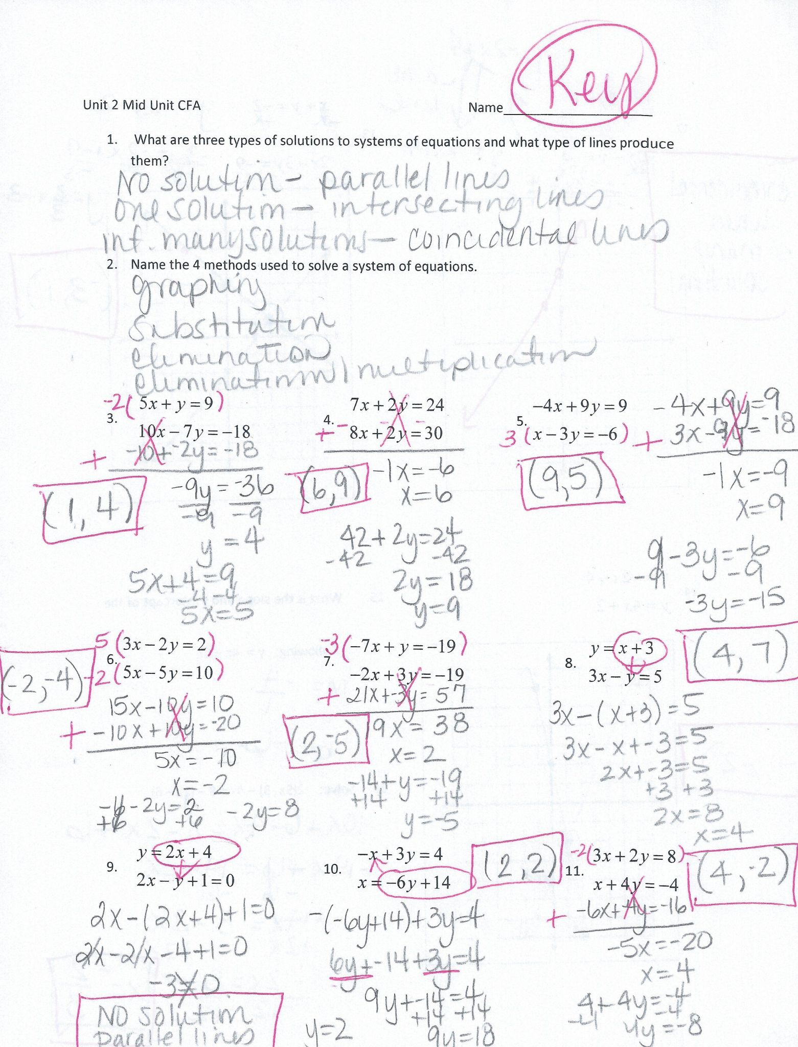 Solving Systems Of Equations By Substitution Worksheet Answers