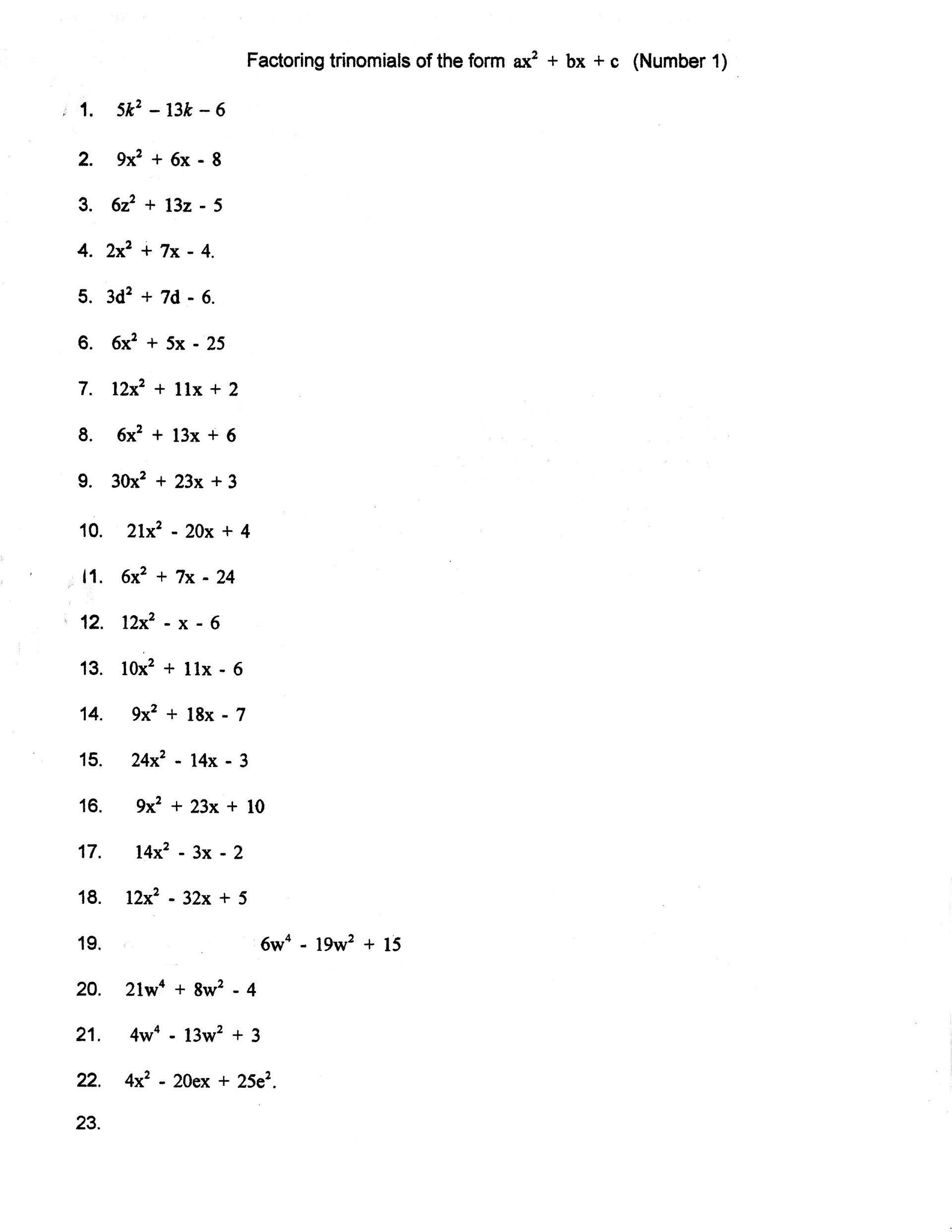 Quadratic Formula Practice Worksheet With Answers
