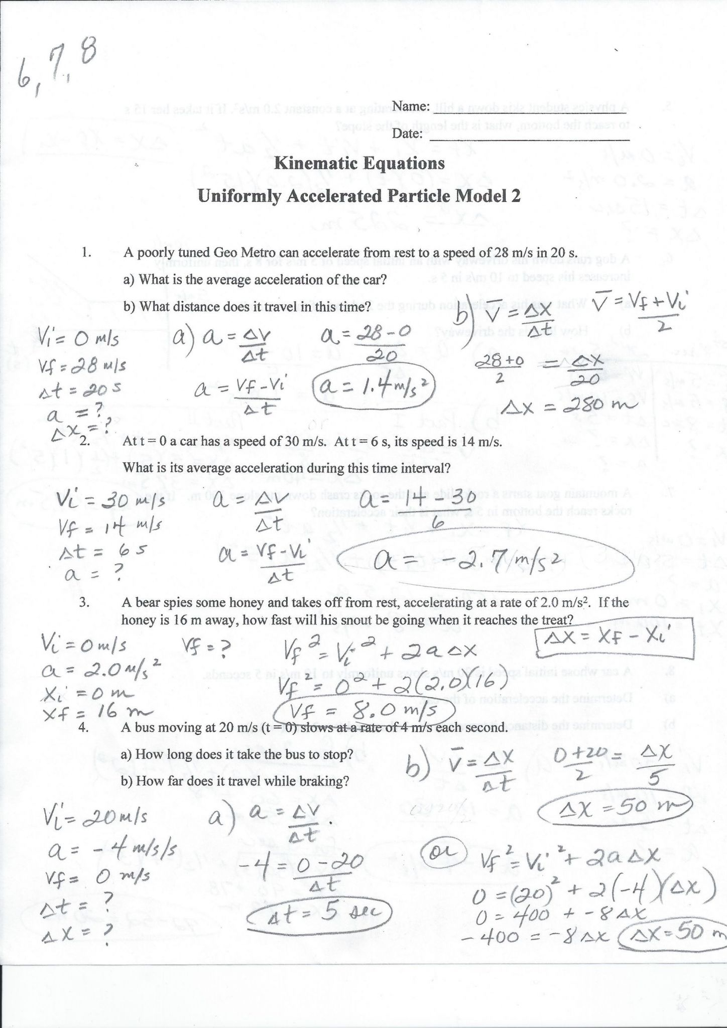 Calculating Speed Time Distance And Acceleration Worksheet