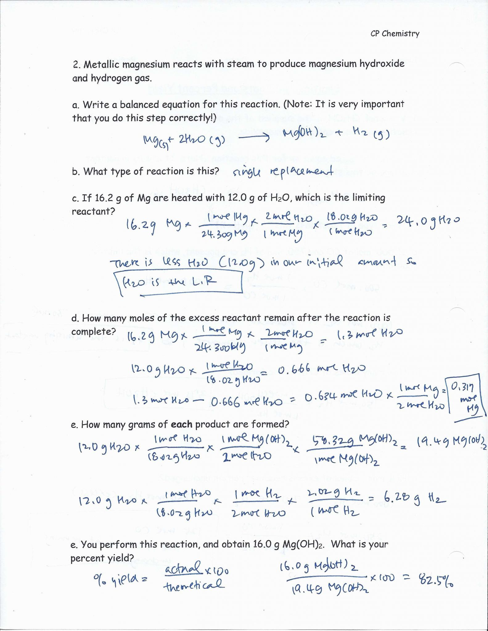 Worksheet Stoichiometry Answers