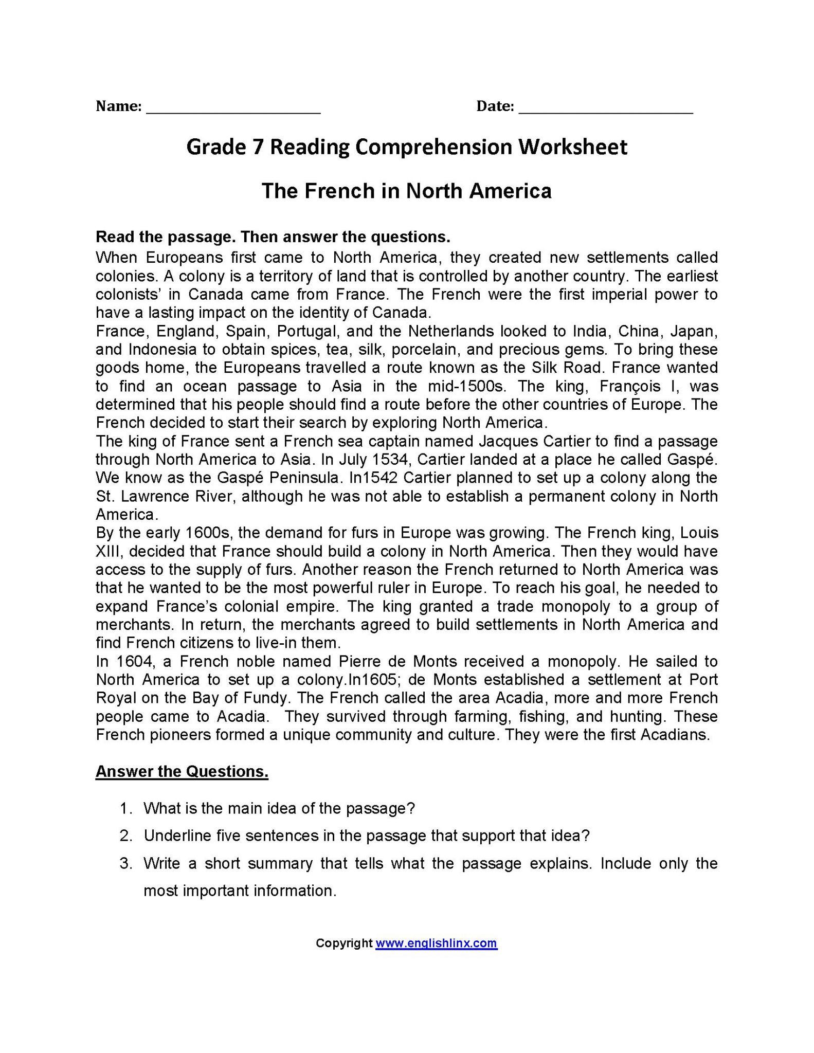 Worksheet Prehension