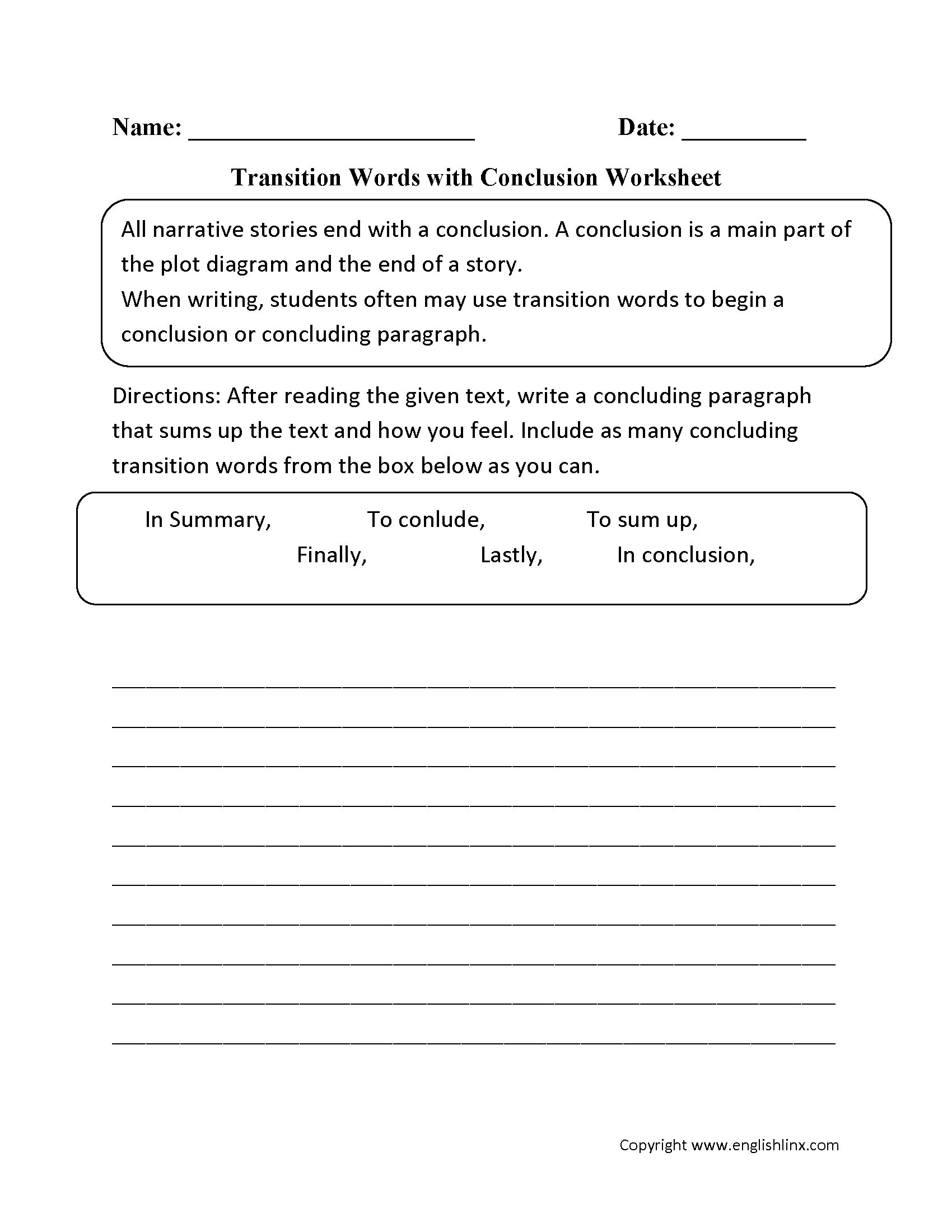 Transition Words Worksheet High School