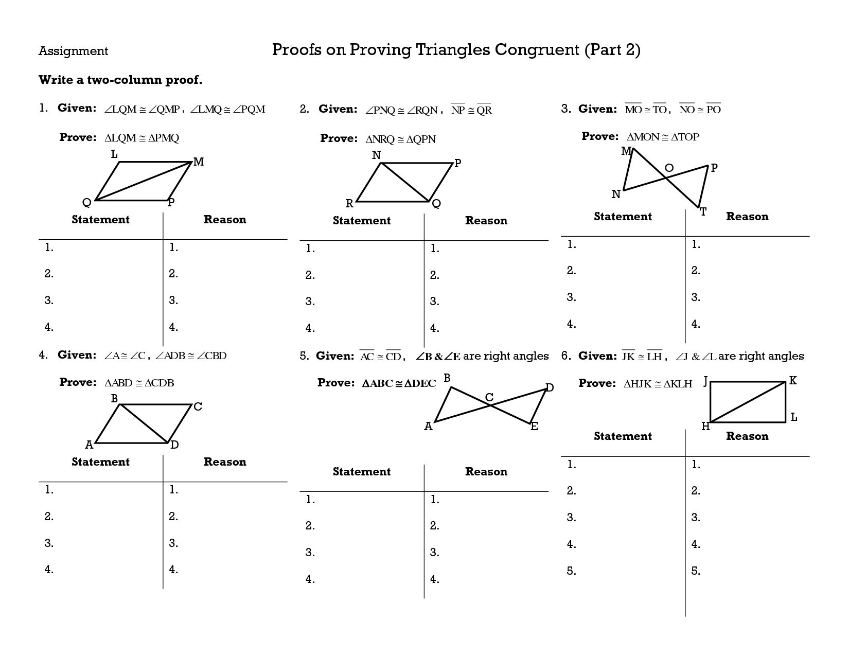 Triangle Congruence Proofs Worksheet Answers