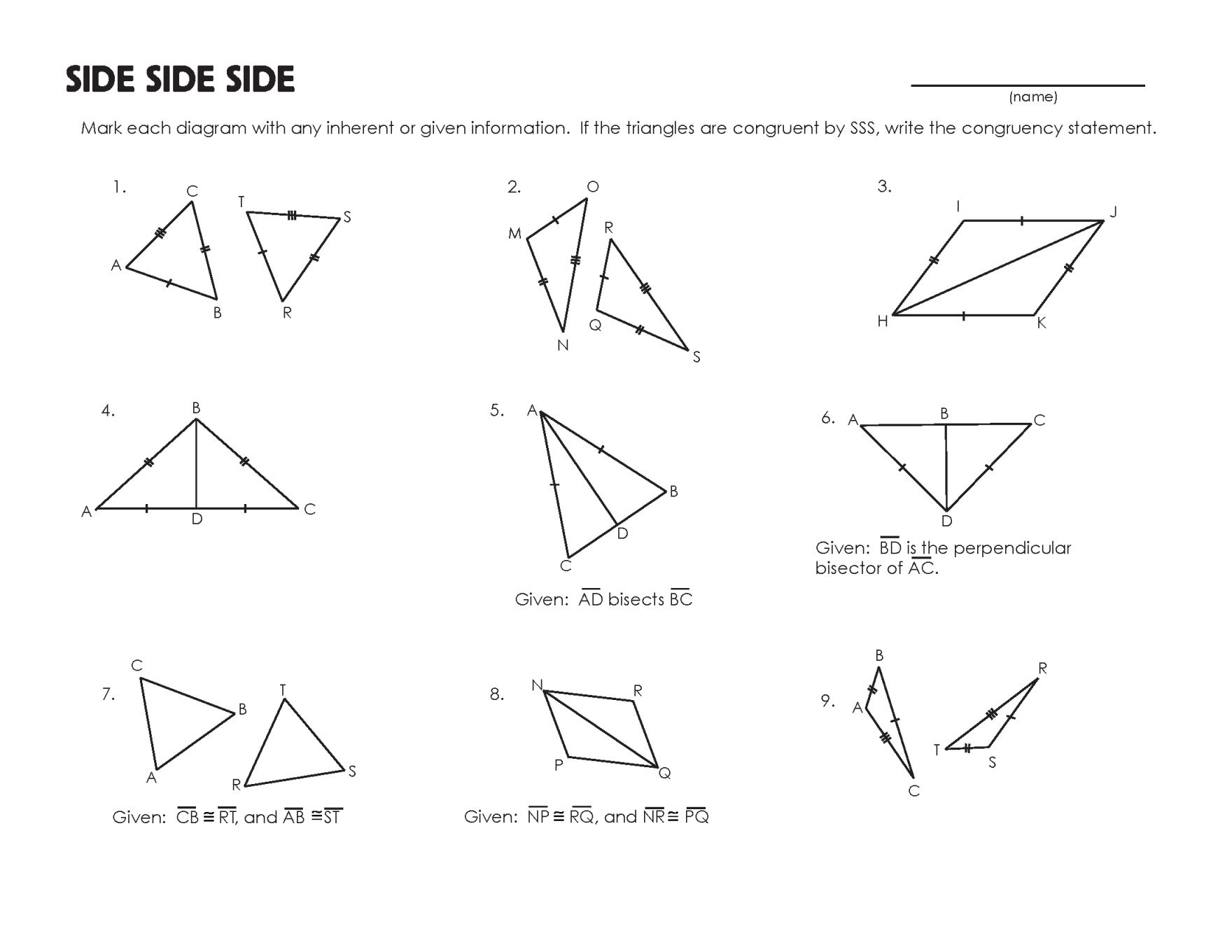 Triangle Congruence Worksheet 1 Answer Key