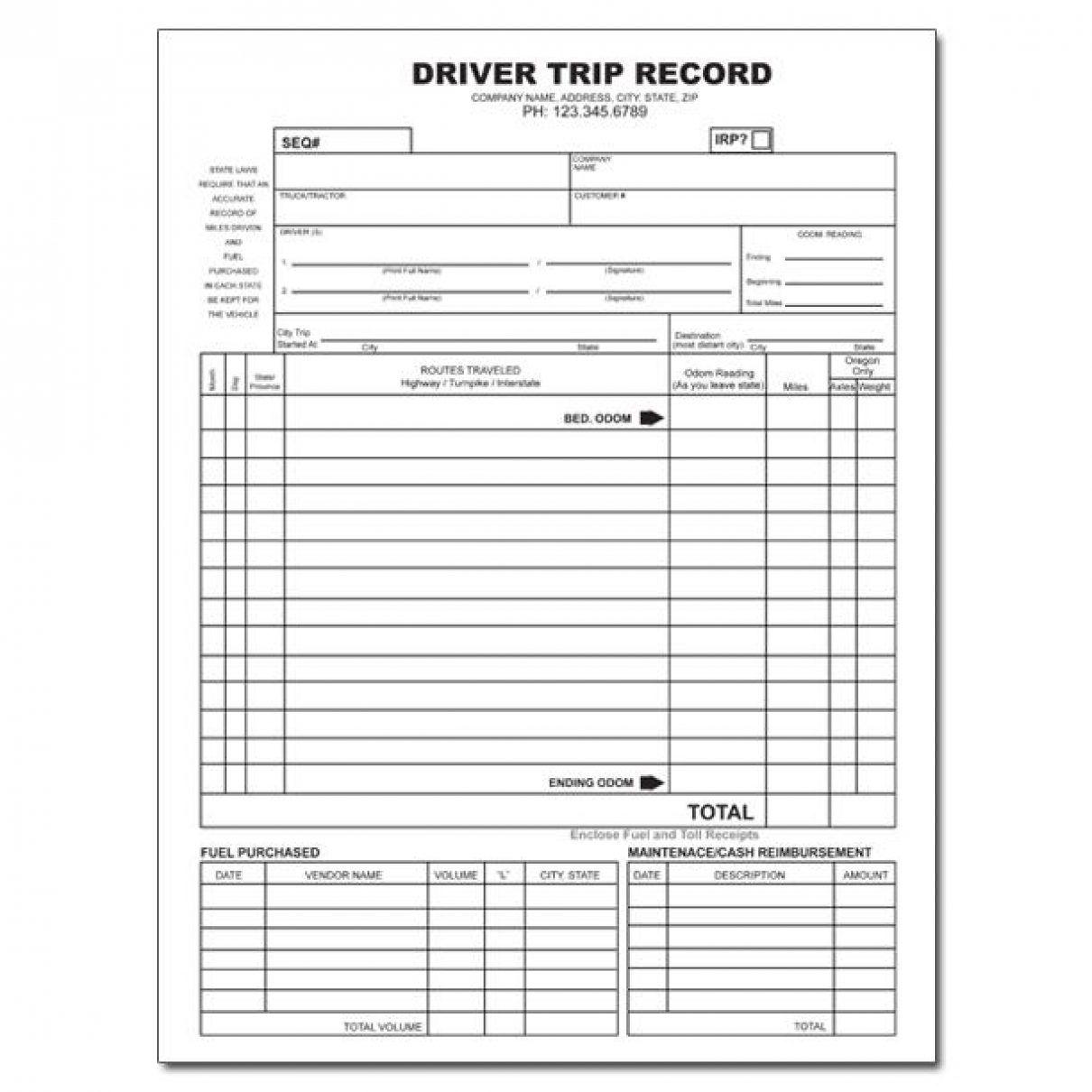 Truck Driver Tax Deductions Worksheet