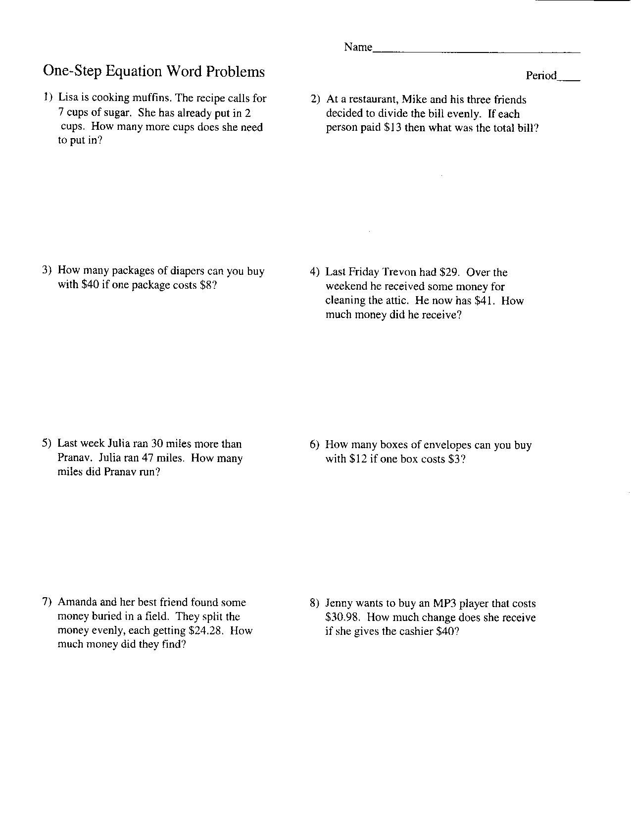 Two Step Equations Worksheet Key