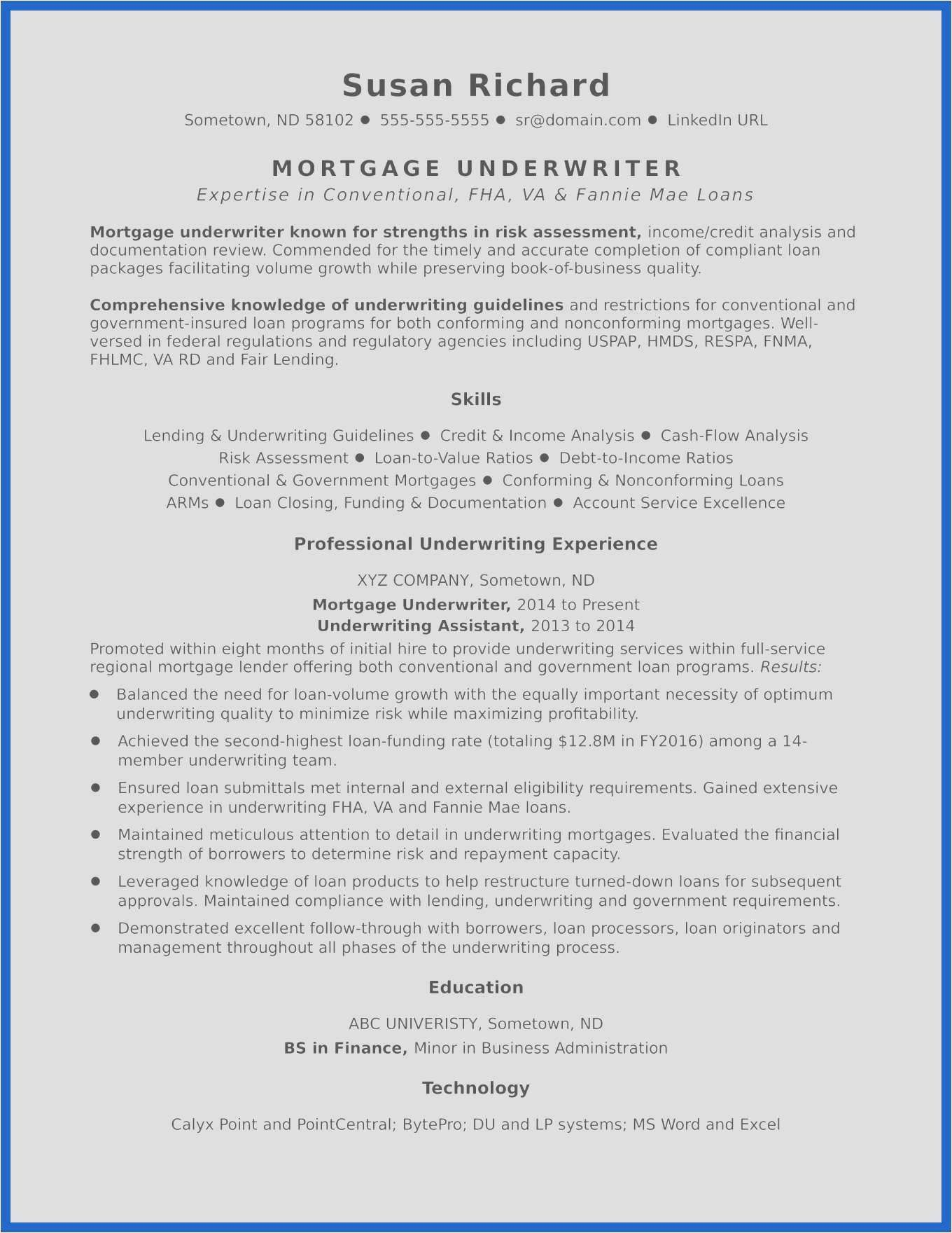 Sample Underwriting Worksheet