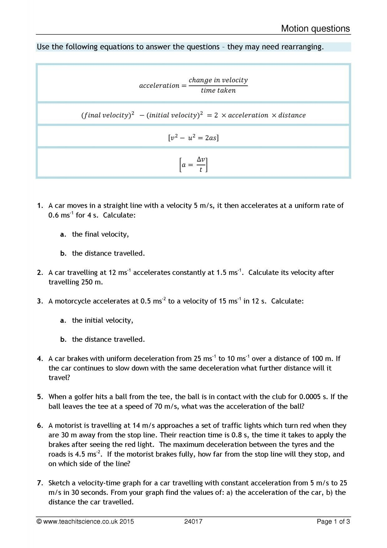 Velocity Worksheet Answers