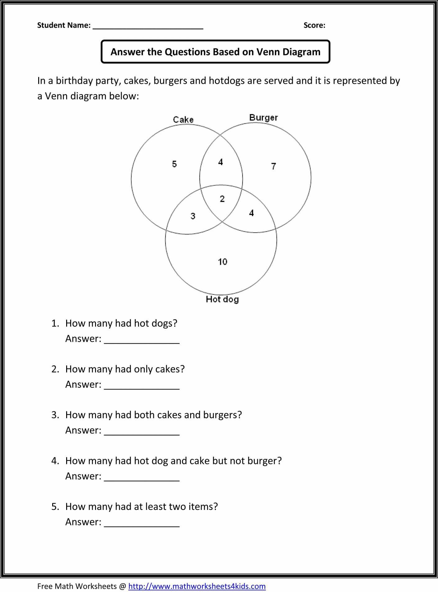 Venn Diagrams Worksheets With Answers