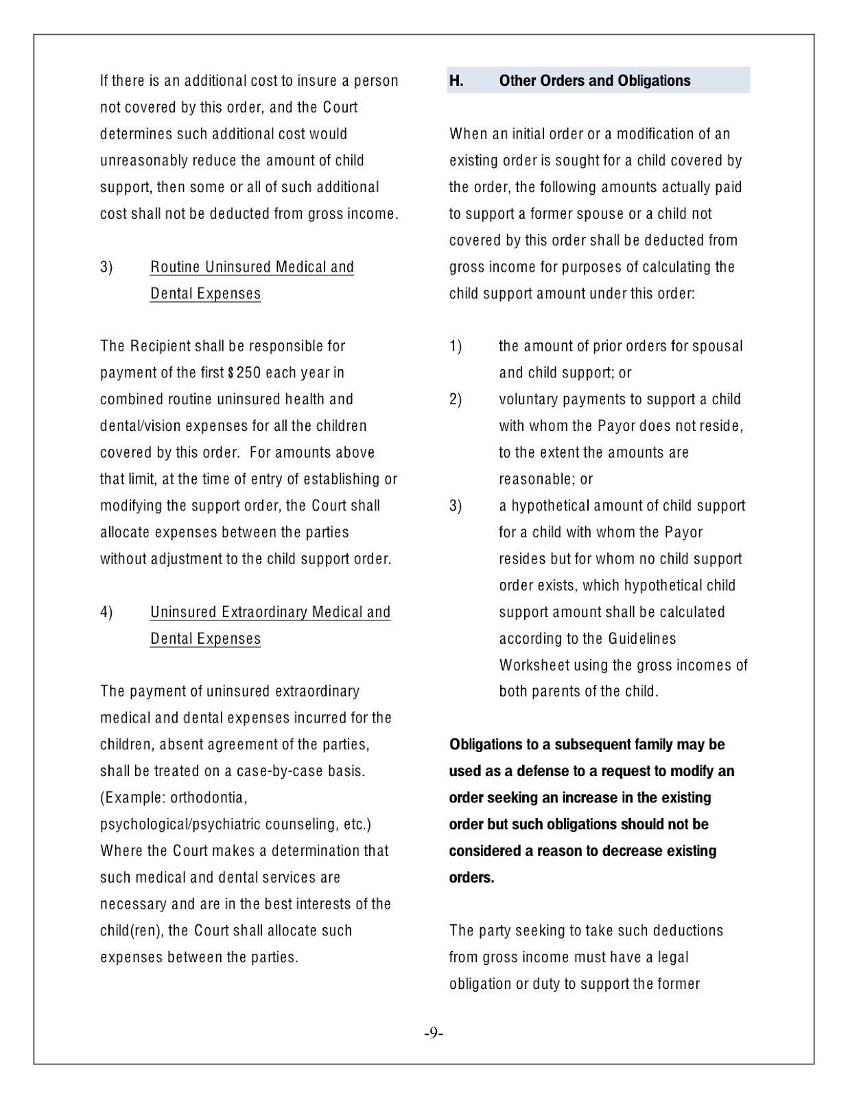 Virginia Child Support Worksheet