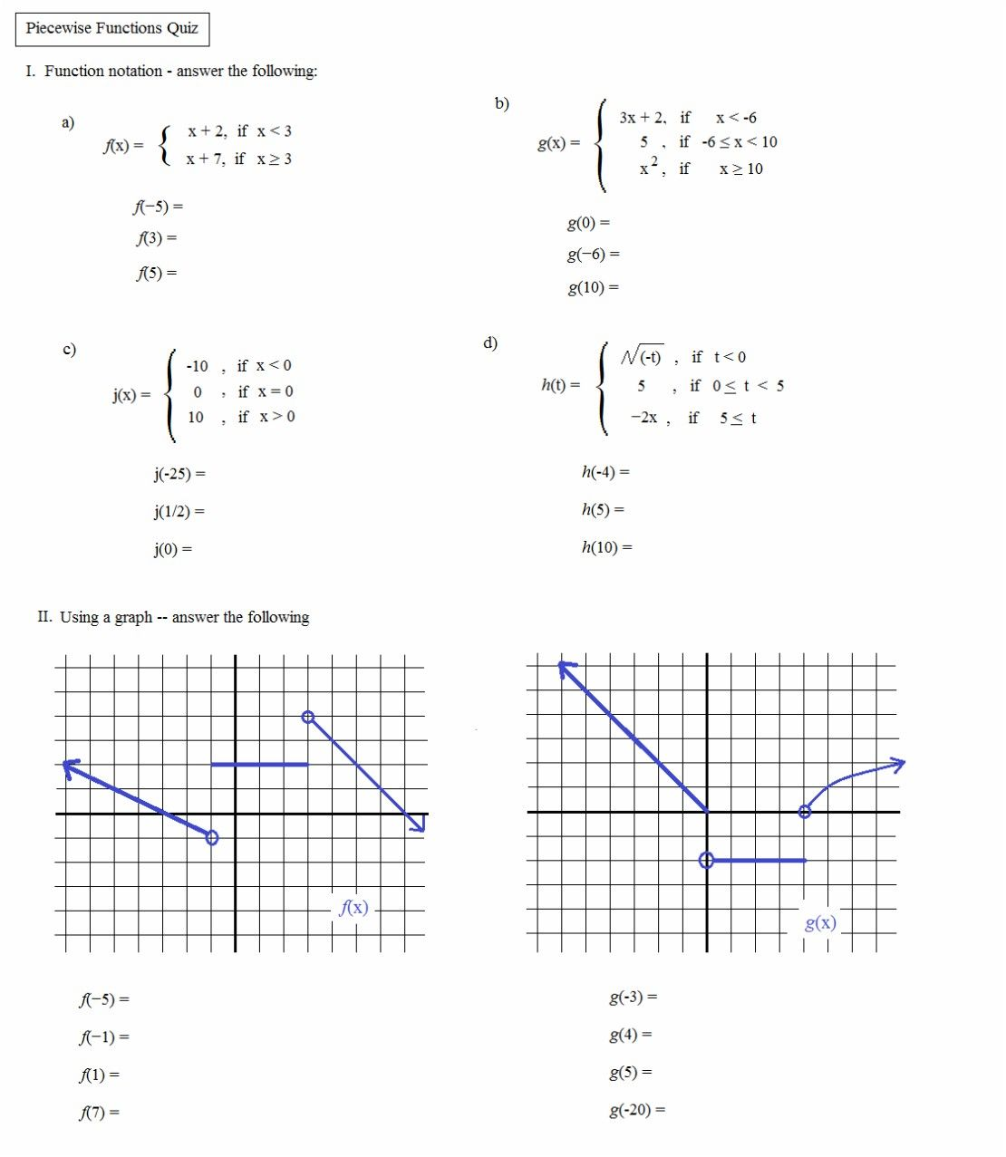 Domain And Range Of Absolute Value Function Worksheet
