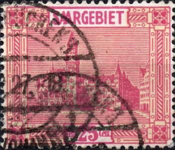 Scan: Saargebiet - 1922 - Neues Rathaus Saarbrück - St. Johann - 25 Cent.