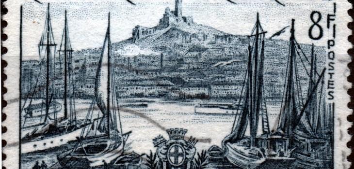 Frankreich, 1955, (Hafen von) Marseille, aus der Reihe 'Landschaften' - Nennwert 8F.