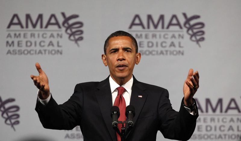Barack Obama Speaks to AMA on 6/15/09 - UPI Photo/Brian Kersey