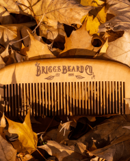 Briggs Beard Comb in leaves