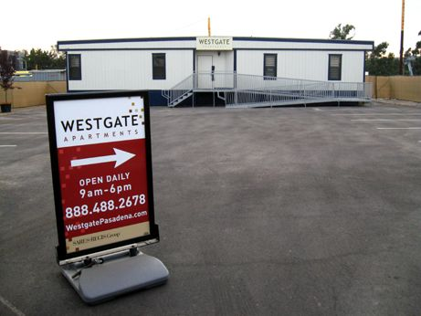 The Westgate leasing trailer is ready to sign up future residents