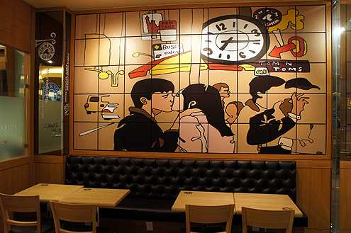 Modern artwork on the walls make the cafe inviting