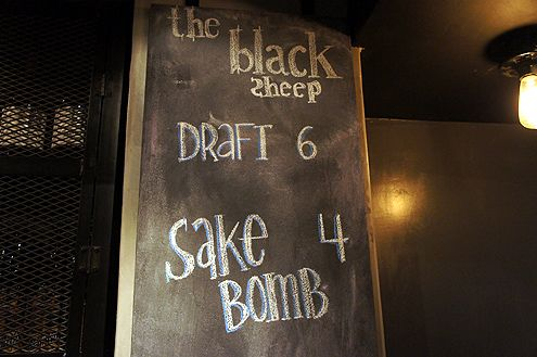 The Black Sheep draft beers for $6 and sake bombs for $4