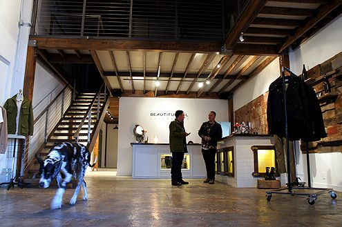 The mezzanine level is Alejandro Rodriguez's (on the right) design studio and showroom