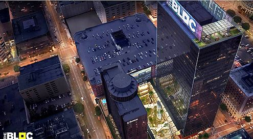 An aerial view and rendering of Macy's Plaza transformed into The Bloc (Photo: The Bloc)
