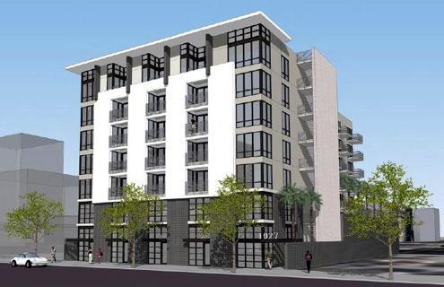 A new 7-story mixed-use project called Urban Village South Park is slated to break ground in Sept 2013, rising near Olympic and Olive (Photo: Urban Village)