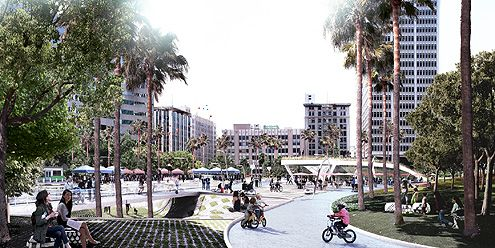 A day time rendering of Pershing Square facing south (Photo: Gensler / Nephew)