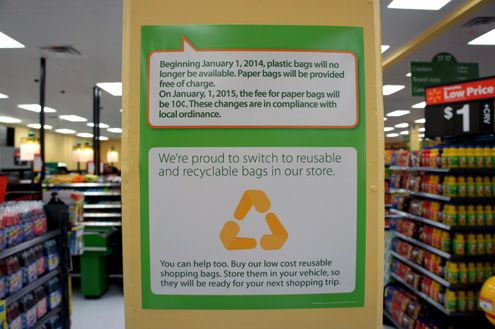 No plastic bags are offered and paper bags are offered gratis until Jan 2015