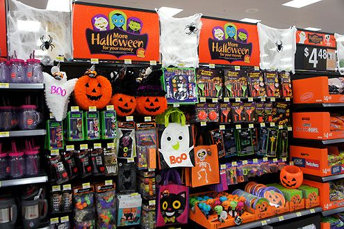 A seasonal section now offering Halloween items