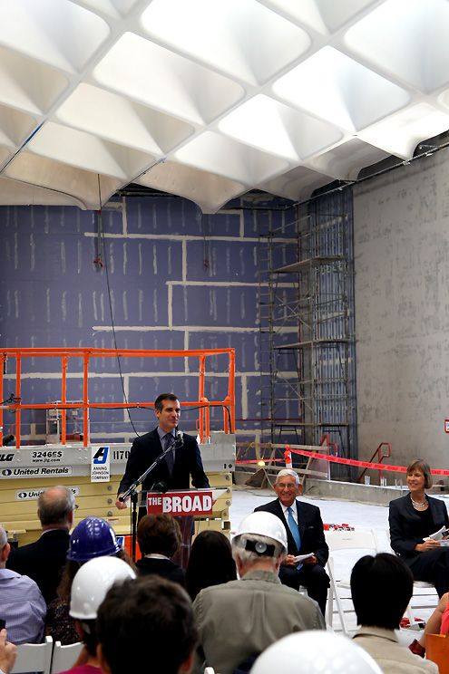 LA Mayor Eric Garcetti speaks at The Broad press event
