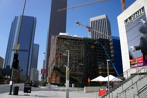 A view of The Broad Art Museum under construction located on Bunker Hill next to the world-famous Walt Disney Concert Hall