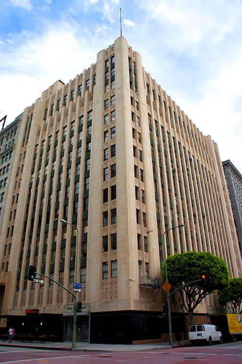 A view of the beautiful 13-story art deco Ninth and Broadway building built in 1929 in Downtown LA
