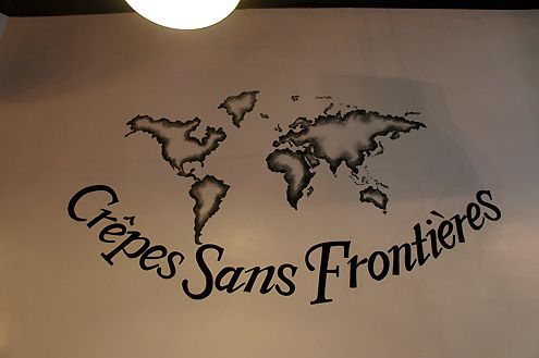 "Crepes Sans Frontieres means ""Crepes without Borders"""
