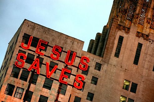 "Ace Hotel will be opening in mid-Jan 2014, restoring and keeping the famous""Jesus Saves"" sign in back of the United Artist Theater (Photo: CaptainMarvel)"