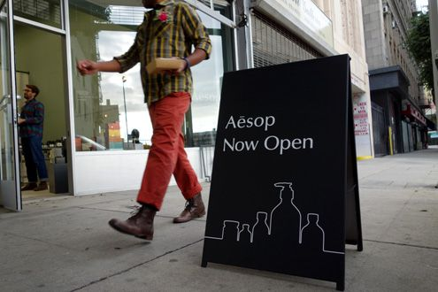 The new Aesop pop-up shop is now open on 9th Street near Broadway while the permanent Aesop store is under construction next door