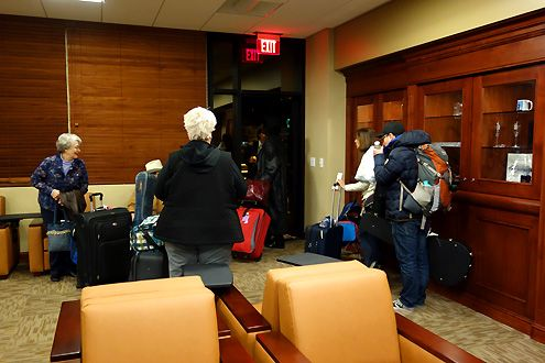 Passengers exit the back door in the lounge to head toward Amtrak trains