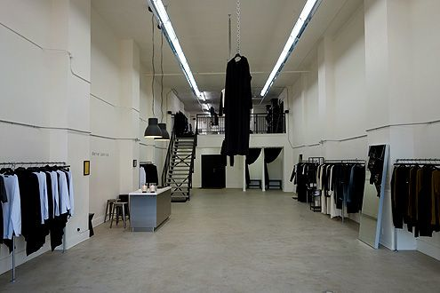 The cavernous store is ultra-modern black and white