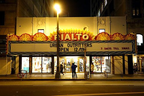 Rialto Theatre before grand re-lighting of the marquee last night