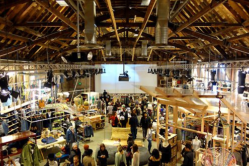 The cavernous main section of the store with soaring high wood-truss ceiling