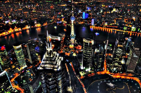Could LA's current stumpy skyline evolve in the future to resemble this aerial view overlooking the stunning Shanghai skyline shows the beautiful pinnacle of the Jin Mao skyscraper? (Photo: Spreng Ben)