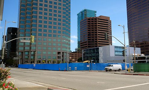 Blue fencing went up early February as construction began on a new Joe's parking structure at 8th/Francisco