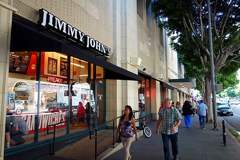 Two new Jimmy John's have opened in Downtown LA, one shown here near 7th/Grand and another at Union Bank Plaza at 5th/Figueroa